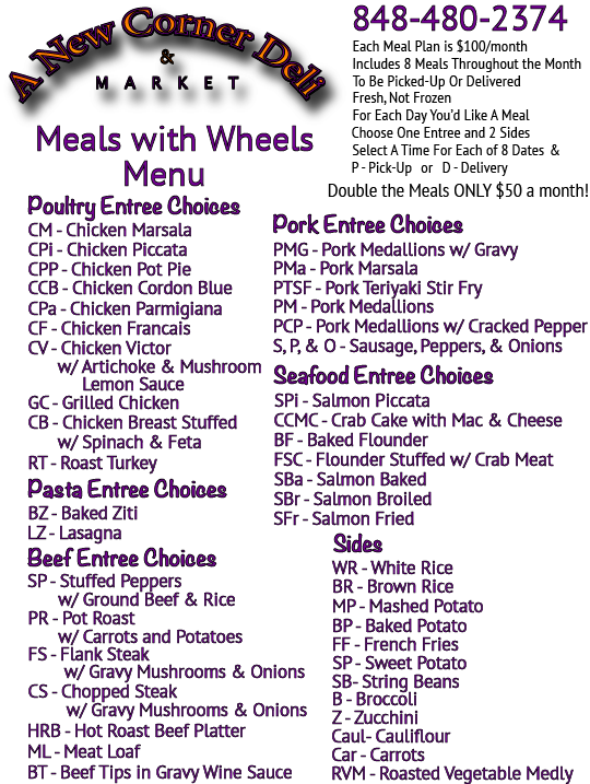 A New Corner Deli Meals with Wheels Menu